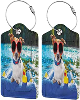 Baggage Travel Tag, Printed Luggage Tag, Stainless Steel Loop Funny Jack Russell with Sunglasses (1,2 & 4 Pack)