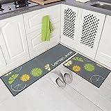 Carvapet 2Stk Küchenläufer Waschbar rutschfest Küchenmatte Küchenteppich Waschbar Teppich Läufer Küche Fußmatte Badematten Set (Zitrone Grau)
