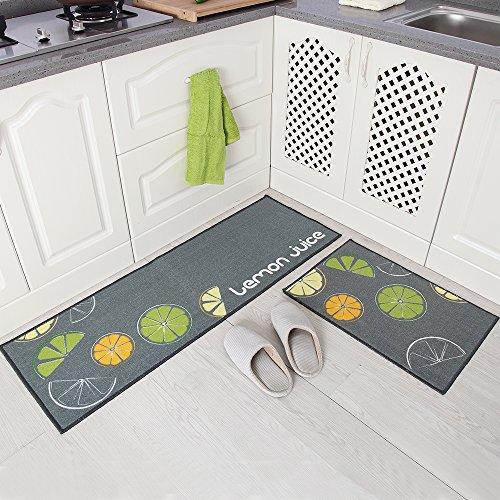 "Carvapet 2 Pieces Non-Slip Kitchen Mat Set Rubber Backing Doormat Runner Rug Set, Lemon Design (Grey 15""x47""+15""x23"")"