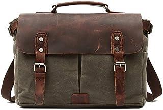 QinMei Zhou Men's Vintage Waterproof Waxed Canvas Business Shoulder Leather Briefcase Laptop Messenger Bag (Color : Green, Size : L)