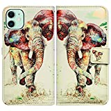 Bcov iPhone 11 Case, Elephant Pattern Wallet Leather Cover Case with ID Credit Card Slot Holder Kickstand for iPhone 11