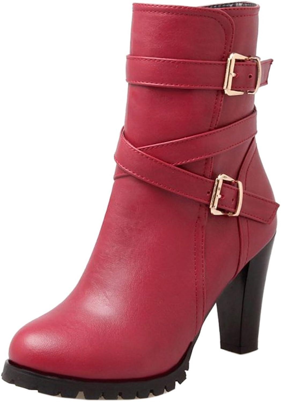 TAOFFEN Women Fashion Buckle Strap Half Boots Winter Heels shoes