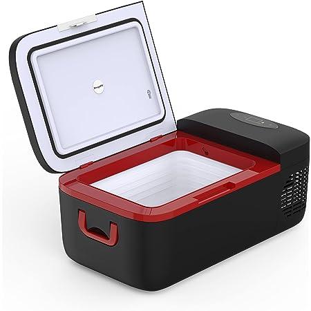 BougeRV 12L 車載冷蔵庫、コンプレッサー式 -20℃~+10℃ 冷凍 冷蔵 家庭用 車載用 12V / 24V 電源対応 アウトドア 地震 車中泊 キャンプ(黒)