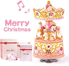 Mrwinder Carousel Music Box Gift, 3-Horse with LED Light Classic Decor   Castle in The Sky   Best Christmas Valentine's Day Birthday Gifts for Wife, Girls, Friends, Kids, Babies … (Led Light)
