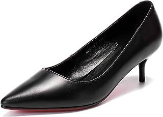 [チカル] レディース パンプス ローヒール パンプス 手造り ポインテッドトゥ モカシンシューズ 靴 5cm ピンヒール シューズ 牛革 レザー 本革 カジュアル 通勤 ビジネス フォーマル リクルート 中敷きクッション 歩きやすい