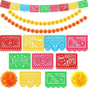 40 Pieces Marigold Flower Heads Bulk Fake Marigold Flowers Artificial Wedding Flower Decoration with 18 Feet Day of The Dead Mexican Paper Banner Papel Picado Banner