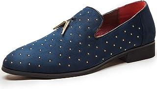 FLQL Men's Pointed Toe Rivet Dress Shoes Glitter Tassel Loafers Plus Size