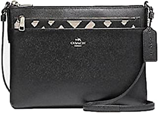 COACH EAST/WEST CROSSBODY WITH POP-UP POUCH WITH WILD PLAID PRINT F22251 Black Chalk Multi