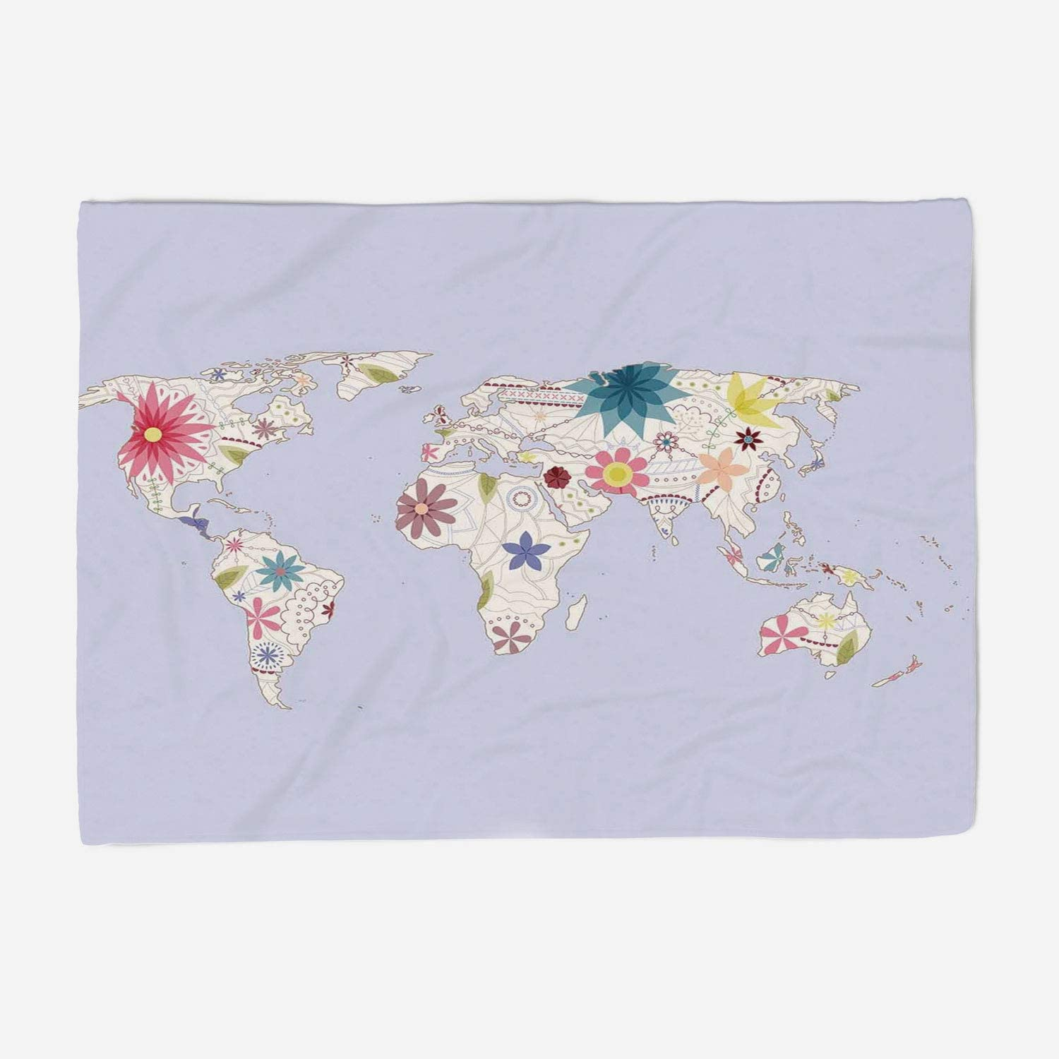 YOLIYANA Microfiber Throw Blanket Set Perfect for Couch Sofa or Bed 59x49 inches Floral World Map,Retro Style Map with Pastel Toned Blossoms Kids Girls Atlas Illustration Decorative,Cream purplec