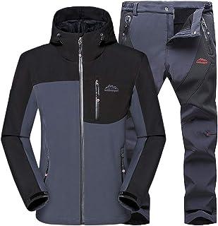 JIANYE Giacca Softshell Uomo Pantaloni Softshell Set Inverno Outdoor Traspiranti Giacca Trekking Pantaloni Trekking