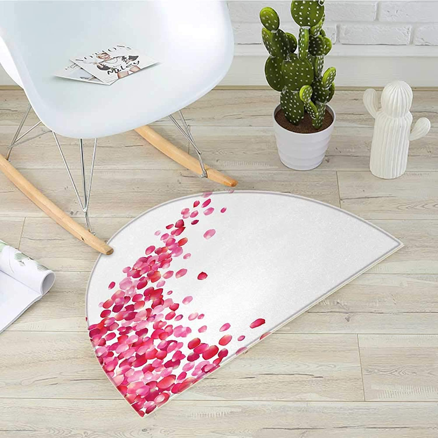 Pink and White Semicircle Doormat White Background with Vibrant pink Petals Vortex with Realistic Look Halfmoon doormats H 39.3  xD 59  Magenta White