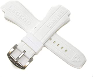 Swiss Legend 18MM White Silicone Rubber Band Strap & Silver Stainless Buckle fits 48mm Neptune Watch