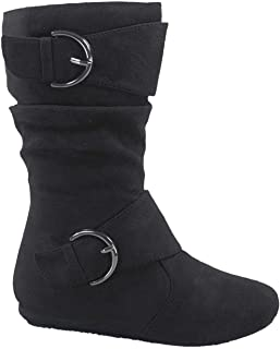 Link Klein-70K Girl's Kid's Faux Suede Two Buckle Zipper Flat Heel Mid Calf Slouchy Boot Shoes