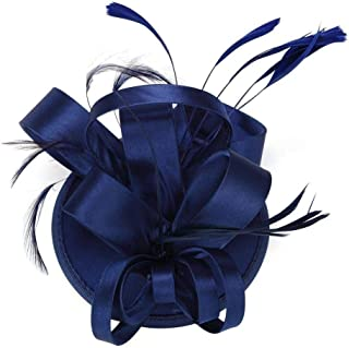 Flyme Elegant Women Feather Satin Cocktail Sinamay Fascinator Party Hair Clip Bridal Headwear,Navy