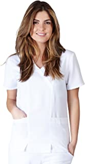 Ultrasoft Premium 2 Pocket Cross Over Tunic Medical Scrub Top for Women - Junior FIT