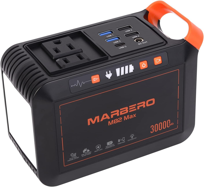 MARBERO 111Wh Portable Power Station 30000mAh Solar Generator Lithium Battery Power Supply 110V/80W(Peak 120W) AC, DC, USB QC3.0, USB C, LED Flashlight for CPAP House Office Camping Emergency Backup