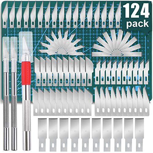 124 PCS Precision Carving Craft Hobby Knife Kit Includes 120 PCS Carving Blades with 8 Kinds of Styles,3 Carving Knifes with 2 Sizes, Cutting Board for DIY Art Work Cutting, Hobby, Scrapbook