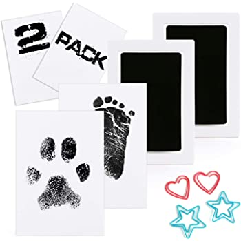 Scotamalone 4 Packs Baby Inkless Handprint and Footprint Ink Pads Non-Toxic Safe and Clean-Touch Small Pet Paw Print Ink Kits for Family Keepsake Baby Shower Gift and Registry Medium Size Black