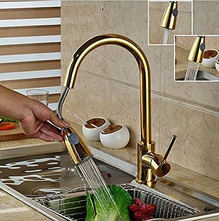 Yanhongyu Luxus Golden Handheld Handheld Handheld herausziehen Küche Wasserhahn Deck montierten polnischen Gold Küchenmixer kalt- und Armaturen B071DGX34H | Louis, ausführlich  8817dc