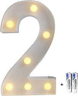 bemece LED Alphabet Letter Lights, Marquee Decorative Warm Plastic Light up Sign (Battery Included)- Number 2