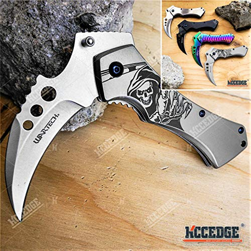 KCCEDGE BEST CUTLERY SOURCE Pocket Knife Camping Accessories Survival Kit 5 Inch Grim Reaper Scythe...