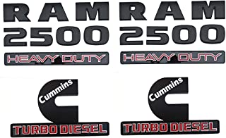 2Pc Dodge Ram 2500 Heavy Duty & 2Pc Cummins Turbo Emblems Nameplate, 3D ABS Stickers Decals Auto Badge Replacement for Dodge Ram 2500