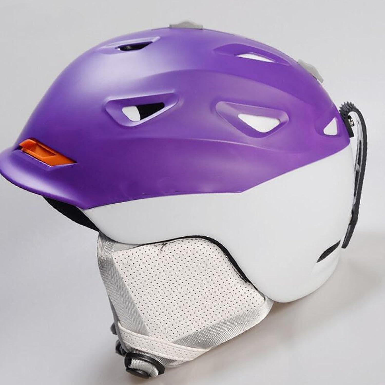 GWDZX Ski Helmet Sports Helmet Helmet Warm Breathable Neutral Shock Perspiration Adjustable,Purple-54-58CM
