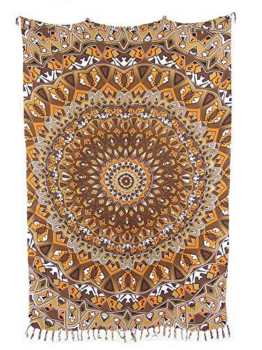 Sarong Pareo Mandala Kaleidoskop braun-orange Wickelrock Strandtuch Tuch Wickelkleid
