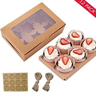 12 Packs Cupcake Boxes, Food Grade Kraft Cupcake Containers Carrier Holders with Inserts and Windows Fits 6 Cupcakes,Muffi...