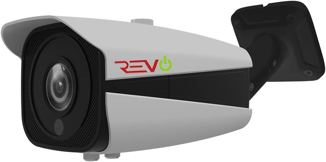 REVO America AeroHD 5 MP Bullet Camera IR Vari-Focal Lens (2.8 to 12mm) - 100' Night Vision, 30 IR LEDs, IR Anti Reflection Glass, Indoor/Outdoor, 60' BNC Cable Included, White (RACBJ2812-3)
