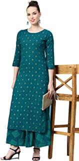 Meera Fab Women's Teal Blue and Golden Printed Cotton Kurta with Skirt (Small)