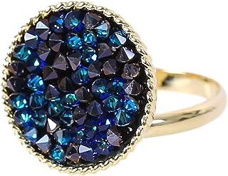 MOONSTONE Fashion Ring For Women Sparkling Round Circle Fine Rock Swarovski Elements, Adjustable Size