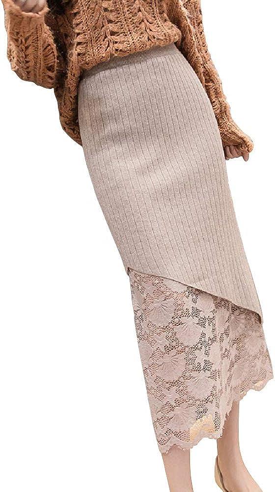 CHARTOU Women's Stretchy High Waist Bodycon Lace Rib-Knit Midi Long Pencil Skirt