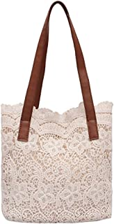 Wultia - Fashion Lady Literary Lace Hollow Versatile Handbag Shoulder Bag and Clutch Bag Ladies Hand Bags Bolsa Feminina 7.33#T08 White