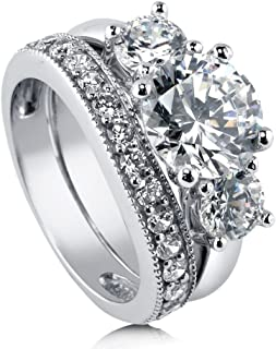 Rhodium Plated Sterling Silver Round Cubic Zirconia CZ 3-Stone Anniversary Engagement Wedding Ring Set 3.6 CTW