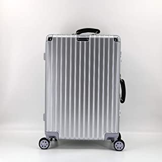 WHPSTZ Trolley Case Retro Reinforced Aluminum Frame Trolley Case Universal Wheel Gift Box Suitcase Box Trolley case (Color : Silver, Size : 20 inches)