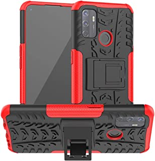 OPPO A53 Case, Ikwcase Heavy Duty Armor Tough Hybrid Shockproof Dual Layer Kickstand Protective Case Cover for OPPO A53 Red