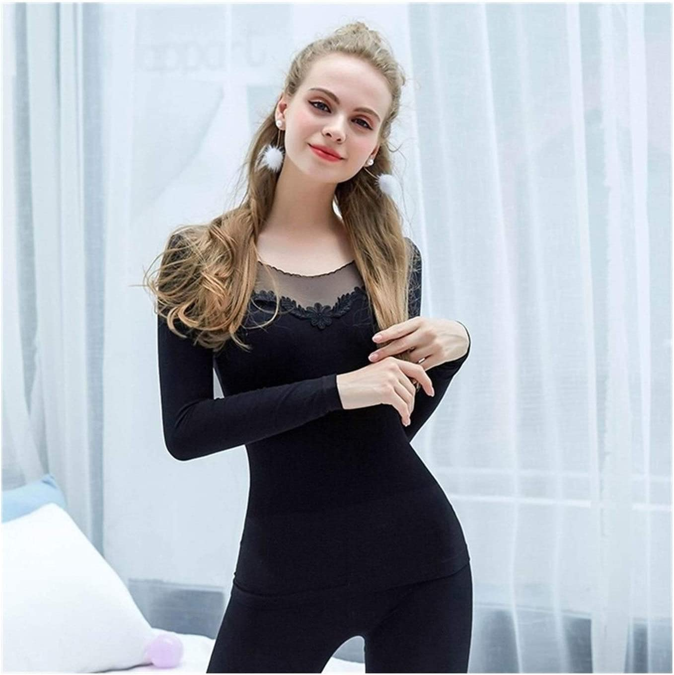 QWERBAM Thermal Underwear for Women Autumn Warm Seamless Winter Fitness Thermal Underwear Set Warm Clothing (Color : Black, Size : One Size)