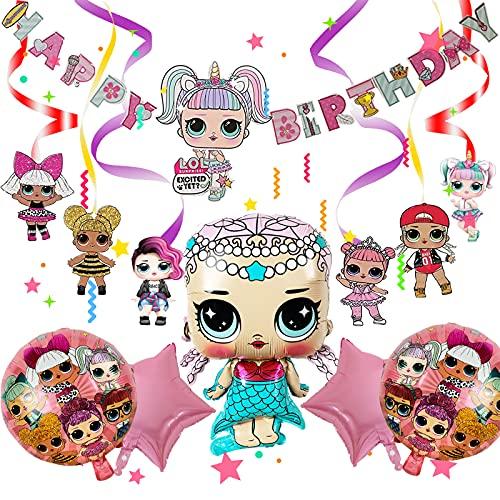 Yisscen LOL Thema Partyzubehör Set, LOL Geburtstag Puppen Luftballons mit Happy Birthday Banner, Geburtstagdeko Heliumballons Foilballons Stern Luftballons für Kinder Geburtstag Party