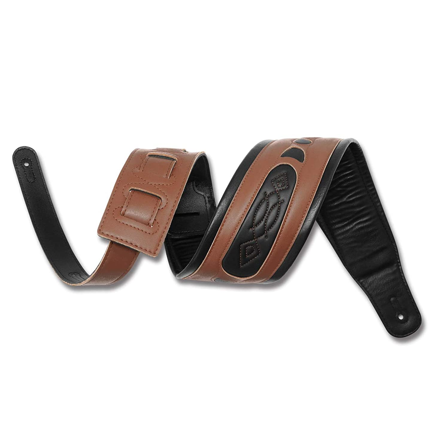 Guitar Strap Adjustable Guitar Straps Genuine Leather Shoulder Pad Guitar Strap for Electric Guitar, Acoustic Guitar and Bass (Brown)