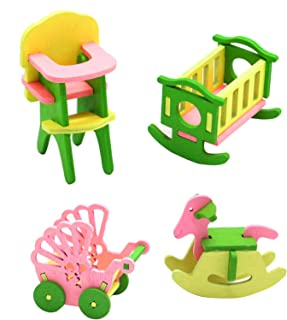 AQUEENLY Wooden Dollhouse Nursery Furniture Baby Room Set, Strollers & Rocking Horse & Crib & Dining Chair 4 Pieces Set
