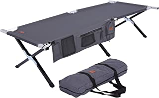 Tough Outdoors Camping Cot - Folding Military/Army Camp Bed for Adults - Portable & Heavy-Duty Sleeping Cots for Camping, Hunting & Backpacking - Foldable - Free Organizer & Storage Bag
