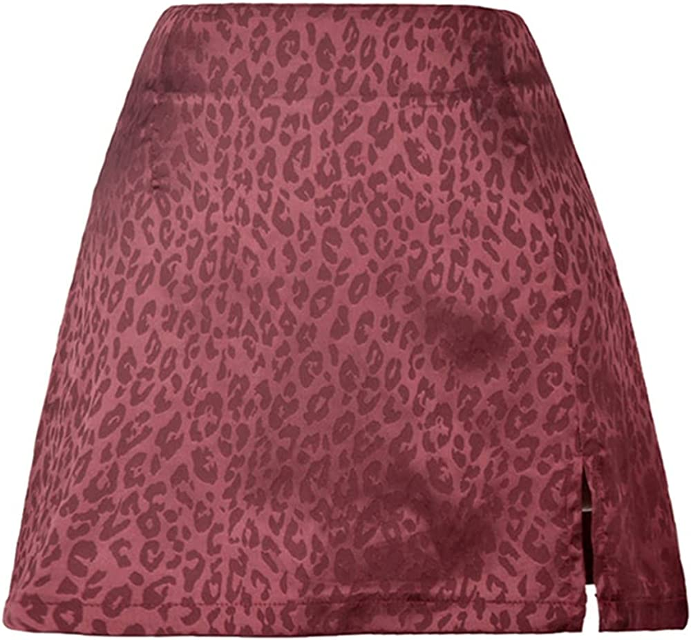Women Skirts Side Split Waist Jacquard Satin Zip