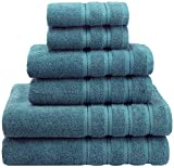 American Soft Linen 6-Piece 100% Turkish Genuine Cotton Premium & Luxury Towel Set for Bathroom & Kitchen, 2 Bath Towels, 2 Hand Towels & 2 Washcloths [Worth $72.95] - Colonial Blue