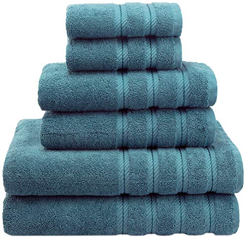 Soft & Absorbent Luxury Turkish Towel Set - Premium Genuine Cotton Hotel & Spa Quality Fluffy 2 Washcloths 2 Hand Towels & 2 Bath Towels by American Soft Linen (6-Piece Towel Set – Colonial Blue)