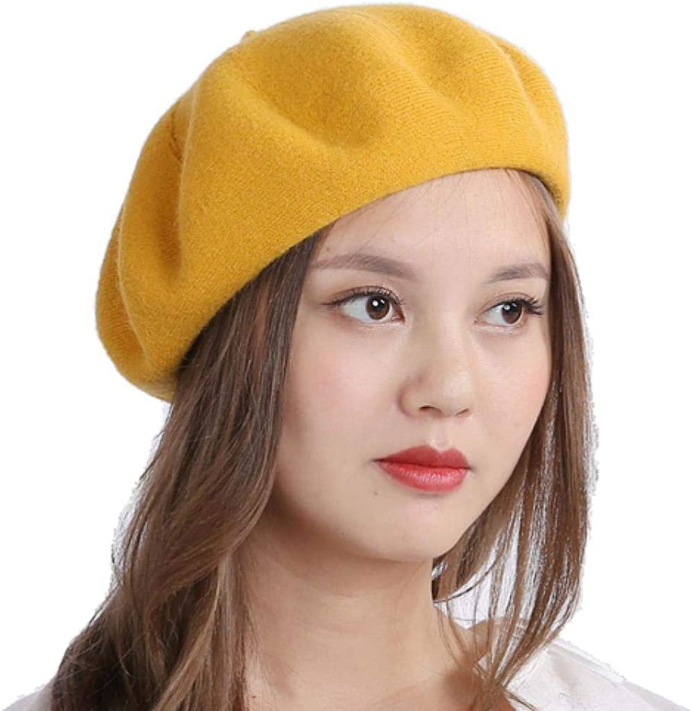 90% Acrylic10% Spandex Knitted Double Layers French Artist Style Classic Solid Color Berets Beanies Cap Hats