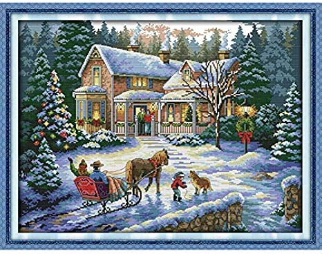 Stamped Cross Stitch Kits Snow Horse Diy Thread Needlework Printed Pattern 3 Strands Embroidery Needlepoint Kits 14Ct Home Decoration 16 X 20 Inch