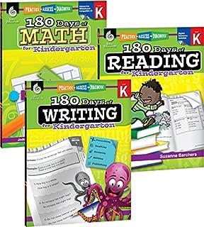 180 Days of Practice for Kindergarten (Set of 3), Assorted Kindergarten Workbooks for Kids Ages 4-6, Includes 180 Days of Reading, 180 Days of Writing, 180 Days of Math