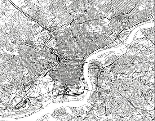 TISAGUER 5D Diamante Pintura por Número Kit,Mapa monocromo de Filadelfia,Bricolaje Diamond Painting kit completo Bordado Decoración del hogar
