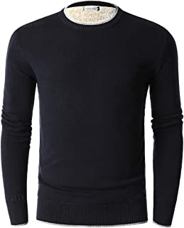 Men's Thick Fleece-Lined Crew Neck Pullover V-Neck Sweater